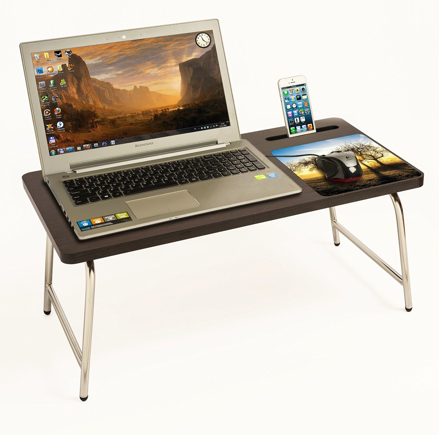 Riona Bluewud Bed Laptop Table With Inbuilt Mobile Stand