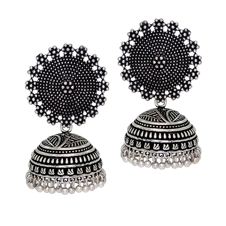 Jaipur Mart Oxidised Plated Handmade Jhumka Jhumki Earrings